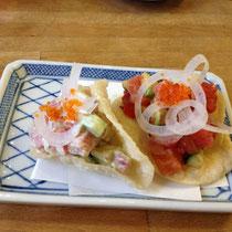 Sashimi Taco Wasabi Mayo or Tomato Salsa sauce