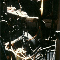 The engine room was a maze of pipes and wires.