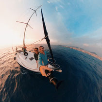 Viviane and Bastian on the sailing boat