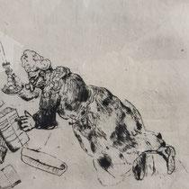 MARC CHAGALL, Pluschkin auf der Suche nach seinen Papieren, aus: Die toten Seelen (Gogol), Blatt 45, Orig. Radierung, drucksigniert, 1923-27, 1948, Ex.292/335