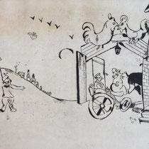 MARC CHAGALL, Tschitschikows Ankunft, aus: Die toten Seelen (Gogol), Blatt 1, Orig. Radierung, drucksigniert, 1923-27, 1948, Ex.292/335