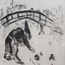MARC CHAGALL, Pluschkin stöbert unter der Brücke, aus: Die toten Seelen (Gogol), Blatt 42, Orig. Radierung, drucksigniert, 1923-27, 1948, Ex.292/335