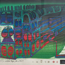 Friedensreich Hundertwasser, Nachtzug, Orig. Farbserigrafie, HWG 72 (220A), handsigniert, 1978/1979, XXV/XC