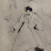 MARC CHAGALL, Der Verwalter, aus: Die toten Seelen (Gogol), Blatt 11, Orig. Radierung, drucksigniert, 1923-27, 1948, Ex.292/335