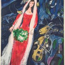 """MARC CHAGALL, Les maries au village, Farbserigrafie/Reproduktion des Ateliers """"Ketem Meshi"""" Jerusalem, 94 x 115 cm, drucksigniert nach Original Gemälde von 1949, Aufl. 112/950"""