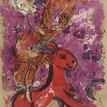 2 x MARC CHAGALL, Zirkus: Das rote Pferd, Orig. Farbserigrafie, nicht signiert