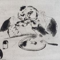 MARC CHAGALL, Sabakowitsch bei Tisch, aus: Die toten Seelen (Gogol), Blatt 36, Orig. Radierung, drucksigniert, 1923-27, 1948, Ex.292/335