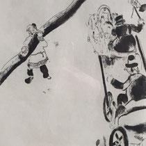 MARC CHAGALL, Begegnung mit einem Bauern, aus: Die toten Seelen (Gogol), Blatt 37/4, Orig. Radierung, drucksigniert, 1923-27, 1948, Ex.292/335