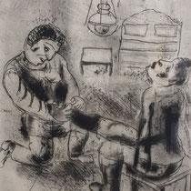 MARC CHAGALL, Petruschka zieht die Stiefel aus, aus: Die toten Seelen (Gogol), Blatt 59/3, Orig. Radierung, drucksigniert, 1923-27, 1948, Ex.292/335