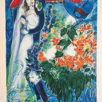 """MARC CHAGALL, Le mariee sous le bladaquin, Farbserigrafie/Reproduktion des Ateliers """"Ketem Meshi"""" Jerusalem, 94 x 115 cm, drucksigniert nach Original Gemälde von 1949, Aufl. 418/950"""
