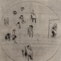 MARC CHAGALL, Das Vertragsbüro, aus: Die toten Seelen (Gogol), Blatt 58, Orig. Radierung, drucksigniert, 1923-27, 1948, Ex.292/335