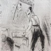 MARC CHAGALL, Tschitschikow kleidet sich an, aus: Die toten Seelen (Gogol), Blatt 61, Orig. Radierung, drucksigniert, 1923-27, 1948, Ex.292/335