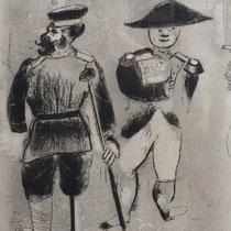 MARC CHAGALL, Kopekin oder Napoleon, aus: Die toten Seelen (Gogol), Blatt 72, Orig. Radierung, drucksigniert, 1923-27, 1948, Ex.292/335