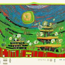 """Friedensreich Hundertwasser, Die Häuser hängen unter den Weiden,  Blatt 9 aus Regentagmappe: """"Look at it on a rainy day"""", Orig. Farbserigrafie, HWG 52 (699), drucksigniert, 1971/1972, 234/3000"""