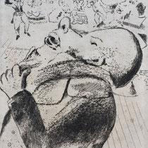 MARC CHAGALL, Nosdriews Enthüllungen, aus: Die toten Seelen (Gogol), Blatt 64, Orig. Radierung, drucksigniert, 1923-27, 1948, Ex.292/335