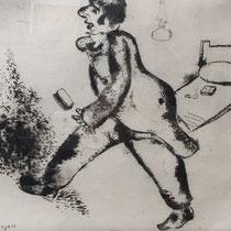 MARC CHAGALL, Petruschka, aus: Die toten Seelen (Gogol), Blatt 5, Orig. Radierung, drucksigniert, 1923-27, 1948, Ex.292/335