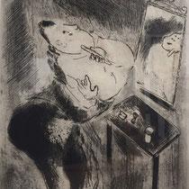 MARC CHAGALL, Tschitschikow rasiert sich, aus: Die toten Seelen (Gogol), Blatt 75, Orig. Radierung, drucksigniert, 1923-27, 1948, Ex.292/335