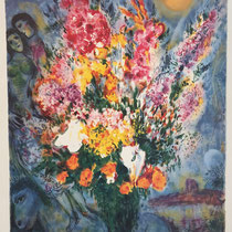 """MARC CHAGALL, Le Bouquet de renoncules, Farbserigrafie/Reproduktion des Ateliers """"Mourlot"""" Paris, 94 x 115 cm, drucksigniert, Aufl. 628/750"""