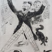 MARC CHAGALL, Nosdriew, aus: Die toten Seelen (Gogol), Blatt 22, Orig. Radierung, drucksigniert, 1923-27, 1948, Ex.292/335