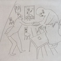 MARC CHAGALL, Tschitschikows Abschied von Manilow, aus: Die toten Seelen (Gogol), Blatt 12, Orig. Radierung, drucksigniert, 1923-27, 1948, Ex.292/335