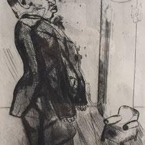 MARC CHAGALL, Sabakowitsch beim Sessel, aus: Die toten Seelen (Gogol), Blatt 37/2, Orig. Radierung, drucksigniert, 1923-27, 1948, Ex.292/335