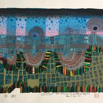 Friedensreich Hundertwasser, Città nella `città (Die Stadt-Stadt), Orig. Farbserigrafie, HWG 78 (801), handsigniert, 1979, XXIX/LXXI
