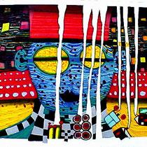 Friedensreich Hundertwasser, Des Mandarins Lied vom weißen Nebel, Japanischer Orig. Farbholzschnitt, HWG 106 (870A), handsigniert, 1992, Aufl. 29/200