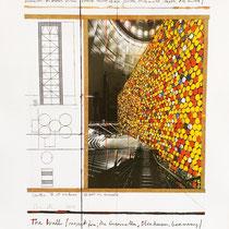 CHRISTO, The Wall Nr. III, Project for Gasometer, Oberhausen, Offset auf gehämmertem Karton, handsigniert, 60 x 50 cm