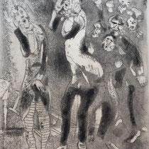 MARC CHAGALL, Die abgemagerten Beamten, aus: Die toten Seelen (Gogol), Blatt 70, Orig. Radierung, drucksigniert, 1923-27, 1948, Ex.292/335