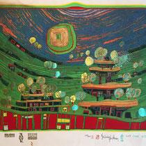 """Friedensreich Hundertwasser, Die Häuser hängen unter den Weiden,  Blatt 9 aus Regentagmappe: """"Look at it on a rainy day"""", Orig. Farbserigrafie, HWG 52 (699), handsigniert, 1971/1972, 1389/3000"""