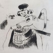 MARC CHAGALL, Der Kutscher füttert die Pferde, aus: Die toten Seelen (Gogol), Blatt 26, Orig. Radierung, drucksigniert, 1923-27, 1948, Ex.292/335