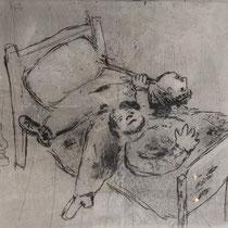 MARC CHAGALL, Ausgestreckt auf dem Bett, aus: Die toten Seelen (Gogol), Blatt 60, Orig. Radierung, drucksigniert, 1923-27, 1948, Ex.292/335