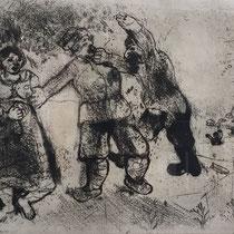 """MARC CHAGALL, Gregor """"Nie-das-Reiseziel-Erreichender"""", aus: Die toten Seelen (Gogol), Blatt 53, Orig. Radierung, drucksigniert, 1923-27, 1948, Ex.292/335"""