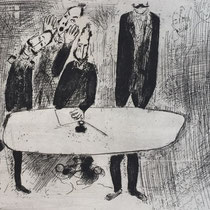 MARC CHAGALL, Die Geheimversammlung der Beamten, aus: Die toten Seelen (Gogol), Blatt 71, Orig. Radierung, drucksigniert, 1923-27, 1948, Ex.292/335