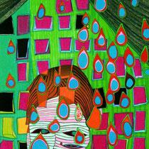 Friedensreich Hundertwasser, Die letzten Tränen, Japanischer Orig. Farbholzschnitt, HWG 75 (662), handsigniert, 1978/1980, Aufl. 197/200