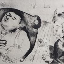 MARC CHAGALL, Tschitschikow und Sabakowitsch reden über Geschäfte, aus: Die toten Seelen (Gogol), Blatt 37, Orig. Radierung, drucksigniert, 1923-27, 1948, Ex.292/335