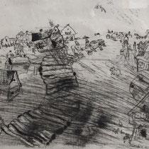 MARC CHAGALL, Pluschkins Dorf, aus: Die toten Seelen (Gogol), Blatt 38, Orig. Radierung, drucksigniert, 1923-27, 1948, Ex.292/335