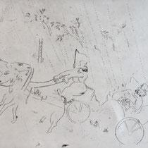 MARC CHAGALL, Auf dem Weg zu Sabakowitsch, aus: Die toten Seelen (Gogol), Blatt 13, Orig. Radierung, drucksigniert, 1923-27, 1948, Ex.292/335