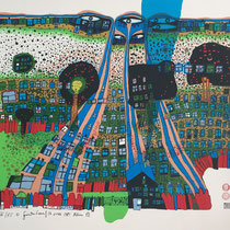 Friedensreich Hundertwasser, Let us pray - Manitou wins, Orig. Farbserigrafie, HWG 79 (818), handsigniert, 1981, Proof XXVIII/XC