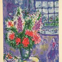 """MARC CHAGALL, Autoportrait avec bouquet de fleurs, Farbserigrafie/Reproduktion des Ateliers """"Ketem Meshi"""" Jerusalem, 94 x 115 cm, drucksigniert nach Original Gemälde von 1965, Aufl. 664/950"""