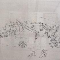 MARC CHAGALL, An der Stadtgrenze, aus: Die toten Seelen (Gogol), Blatt 47, Orig. Radierung, drucksigniert, 1923-27, 1948, Ex.292/335