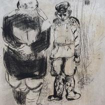 MARC CHAGALL, Der Mann ohne Reisepass vorm Richter Isprawnik, aus: Die toten Seelen (Gogol), Blatt 54, Orig. Radierung, drucksigniert, 1923-27, 1948, Ex.292/335