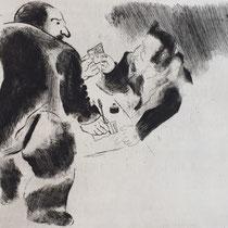 MARC CHAGALL, Die Bezahlung, aus: Die toten Seelen (Gogol), Blatt 37/3, Orig. Radierung, drucksigniert, 1923-27, 1948, Ex.292/335
