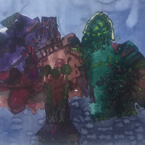 Heinz Trökes, Abends, Aquarell, 1977,  ca. 50 x 65 cm