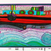 """Friedensreich Hundertwasser, Regentag auf Liebe Wellen,  Blatt 8 aus Regentagmappe: """"Look at it on a rainy day"""", Orig. Farbserigrafie, HWG 51 (697), drucksigniert, 1971/1972, 1451/3000"""