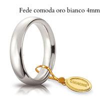 Fedi Nuziali  Unoaerre comoda oro bianco 4 mm