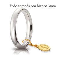 Fedi Nuziali  comoda oro bianco 3 mm