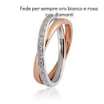 Fedi Nuziali  Per Sempre Oro Bianco e Rosa con Diamanti collezione 9.0