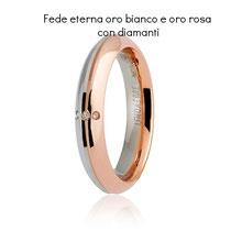 Fedi Nuziali  Eterna Oro Bianco e Rosa con Diamanti collezione 9.0