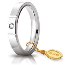Fede Nuziale Unoaerre Cerchi di Luce in Oro Bianco con Diamante 3,5 mm